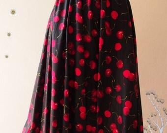 Black Red Cherry Skirt Fruit Skirt Summer Skirt Swing Black Skirt  Dancing Skirt Cotton Midi Skirt Vintage Floral Skirt - Size S-M