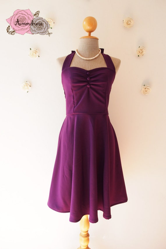 Purple dress vintage inspired purple party dress eggplant swing dress
