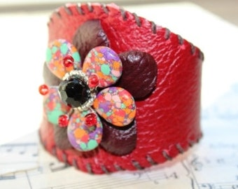 Red Leather Beaded Cuff