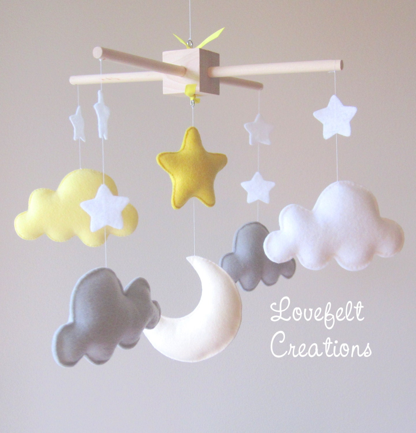 baby mobile cloud mobile moon clouds mobile yellow and. Black Bedroom Furniture Sets. Home Design Ideas