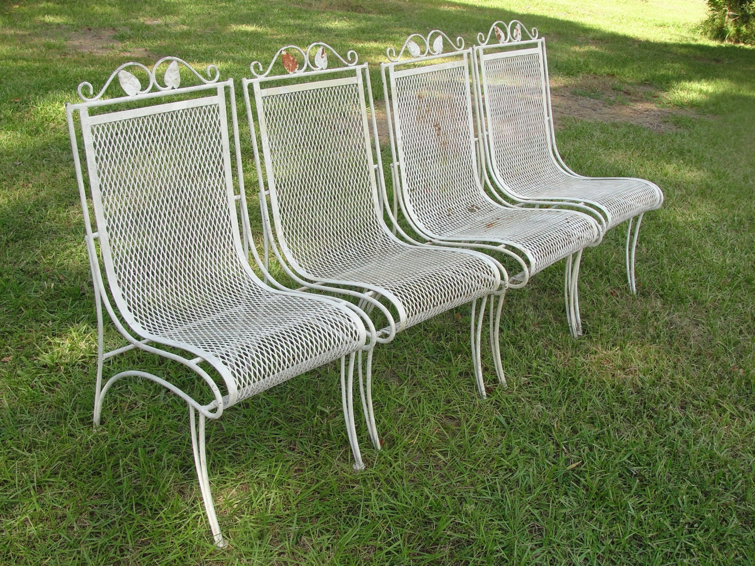 Vintage Set Of 4 Heavy Wrought Iron Patio Chairs W Mesh