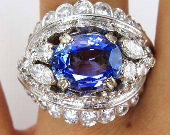 French, Art Deco GIA  6.50ctw Sapphire Diamond Cluster Ring in Platinum, Circa 1930