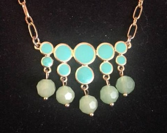 Teal & Green Beaded Metal Necklace on Gold Chain