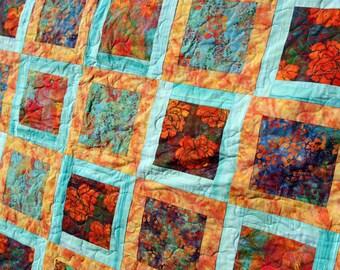 Batik Patchwork Quilt, Bloom Queen / King  Teal & Orange, Handmade by PingWynny