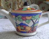 Sadler - Art Deco - Clarice Cliff Style Teapot - Gypsy Caravan - Autumn Fruits - Vintage - Burslem, Stoke-on-Trent, Staffordshire, England