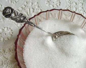 Hildesheimer Rose Pattern Shell-Shaped Sugar Spoon - ANTIKO 800 Silver - 1950s - Germany - High Tea / Tea Party - Kohlbecker, Pforzheim