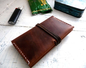 Tobacco Pouch Hand Stitched Brown Leather Pull-up
