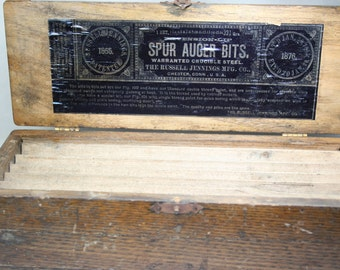 Antique Wood Spur Auger Box - Tool Box