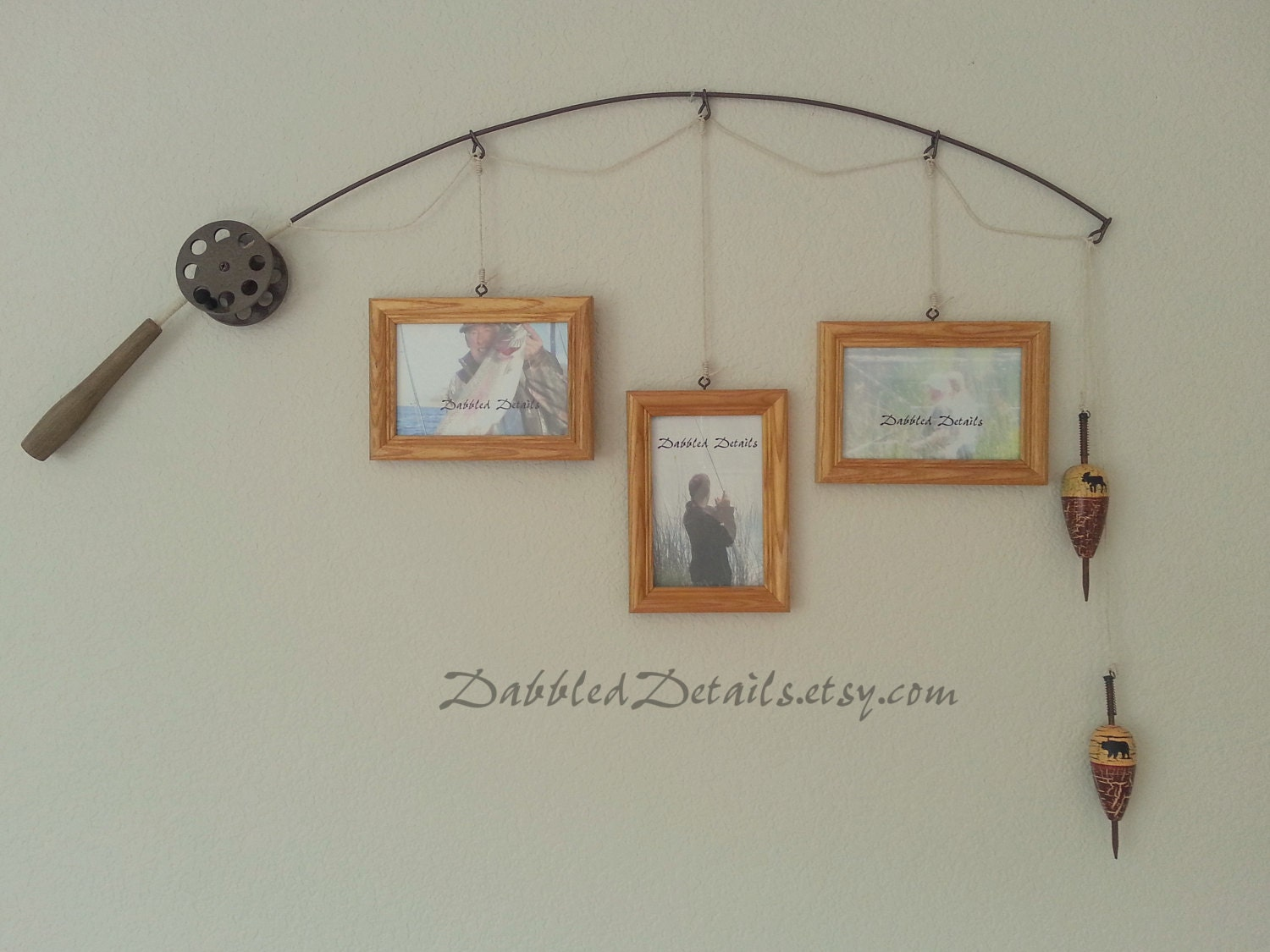 Fishing pole picture frame metal brown 3 by dabbleddetails for Fishing picture frame