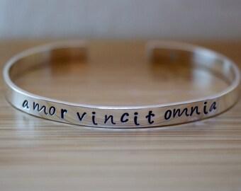 sterling silver amor vincit omnia bracelet - amor vincit omnia - sterling silver bracelet - love conquers all bracelet - love conquers all