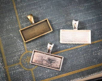 6 Rectangle Bezels for Photos, Pendant Trays - customizable blank  10 x 25 mm - Lead and Nickel Free horizontal