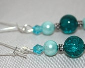beaded dangle earrings - turquoise glass and pearl earrings - free shipping - beaded pearl earrings - ships free