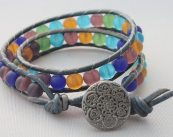 Beaded wrap bracelet - leather wrap - double wrap bracelet - 2x wrap bracelet - free shipping