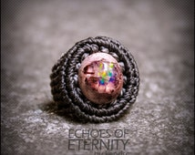 RESERVED BRIANNA Mexican Boulder Opal Macrame Ring