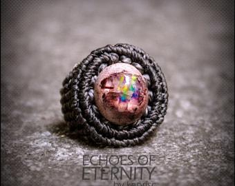 Mexican Boulder Opal Macrame Ring