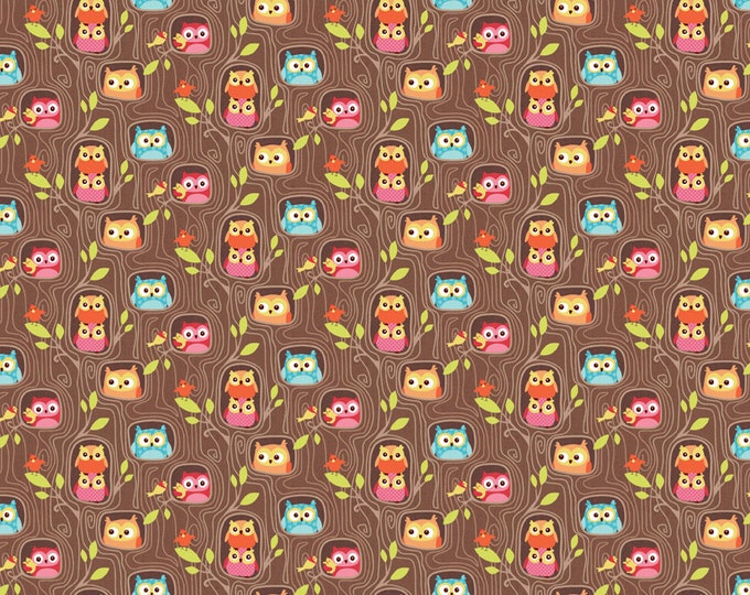 Owl Print Fabric. Owls on a Brown Background.  Flappers Hideout by Riley Blake  C4023