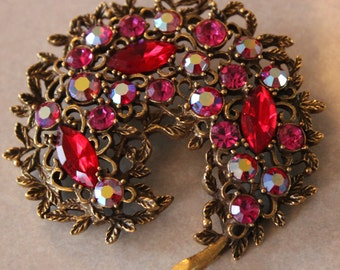 Large Signed Emmons Red Rhinestone Brooch Pin