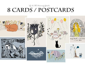 8 fairy tale cards / postcards. Hand drawn illustrations of animals, unicorns and flowers. Eco-friendly. Recycled paper.