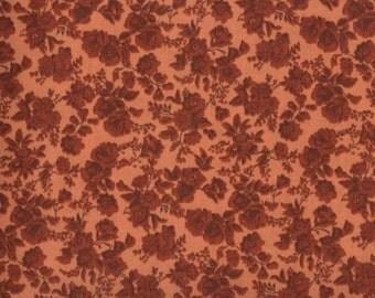 Floral Fabric, Quilters Calicos, Dark Orange Floral Fabric, Orange Fabric, Orange Flowers, 10022