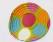 Fleece Mini Flying Saucer - Large Multi Colored Polka Dots