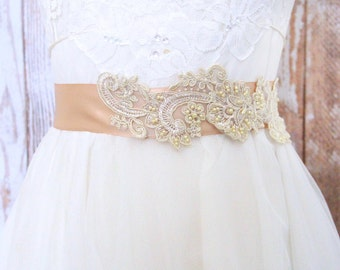 Light Gold Sequined and Beaded  Lace Sash, Champange Bridal Sash, Bridesmaid Sash / SH-64