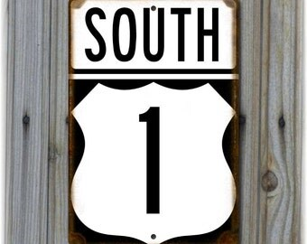 Florida US 1 South Replica Highway Sign - Key West, Big Pine Key, Marathon, Islamorada, Key Largo