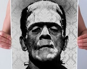 Frankenstein Damask Baroque Art Print Poster Wall Decor Vintage Halloween Monster Horror Black White Gothic 5x7 8x10 A3 +More Sizes