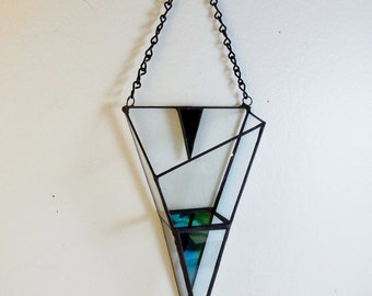 Stained glass air plant holder, elegant, geometric stained glass sconce, an  arrow shape air plant holder.