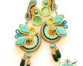 Turquoise Soutache Earrings- Swarovski Crystal Statement Earrings- Dangle Long Earrings- OOAK Earrings