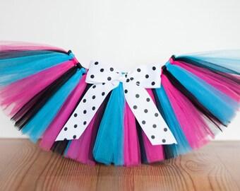 "Rock star tutu ""Olivia"" pink black turquoise tutu girls tutu skirt children's tutu photo prop pink birthday tutu skirt size 5 6 7 8 10 12"