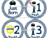 BUNDLE PACK - Police Baby Month Stickers  - Months 1-12, Newborn Set and Milestone Set for Baby Boy Policeman Cop - Save on Shipping