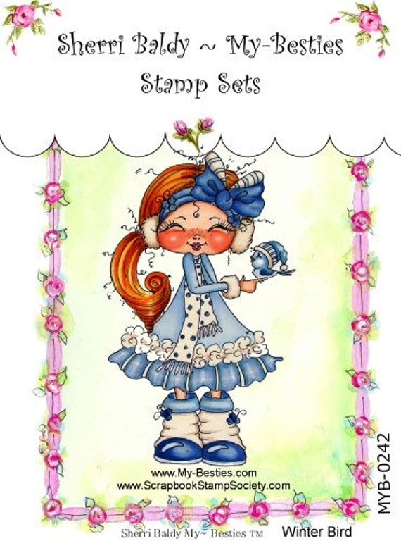 My Friends klare Stempel Big Eye friends Großkopf Dolls Besen Winter Bird von Sherri Baldy