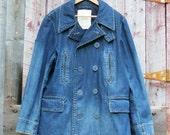 Vintage Mens 1990's Ralph Lauren Denim Peacoat/ Indigo Denim Jacket/ Denim Double Breasted Peacoat/ Denim Peacoat/ Ralph Lauren/ Size Large