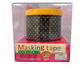 washi tape / deco tape / removable tape / masking tape / black and white pokadot / W6mm xL10m, W30mmxL5m/ 2pcs