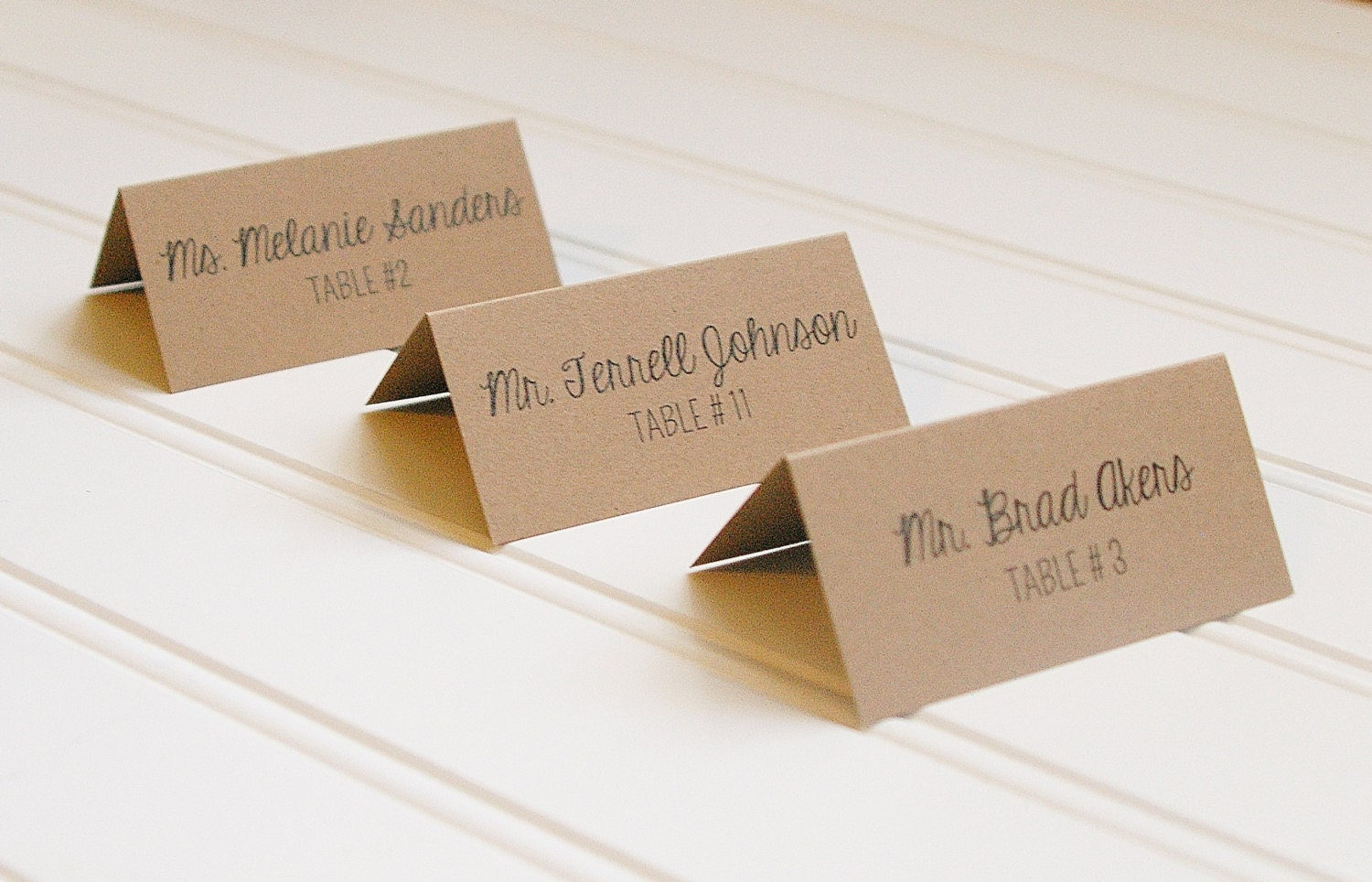 kraft paper place cards table numbers rustic wedding Wedding Escort Cards And Table Numbers Wedding Escort Cards And Table Numbers #3 wedding escort cards and table numbers