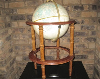 Vintage Cram's Imperial Globe on Wooden Stand
