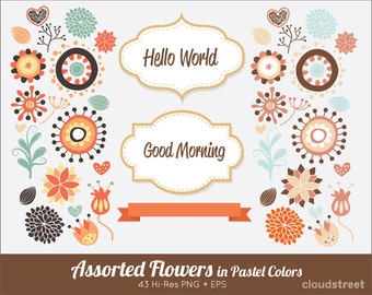 20% OFF Cute flowers clipart in pastel colors for personal and commercial use ( spring flower clip art ) vector graphics