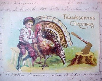 Sweet Edwardian Era Thanksgiving Postcard-Boy Saves Turkey