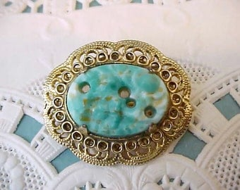 """Lovely Little Vintage Chinese Export Brooch with Aqua """"Stone"""""""