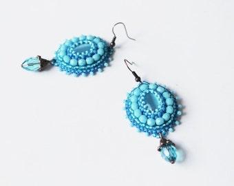 Light Blue Earrings Bead embroidery Earrings Beadwork earrings Blue Dangle Earrings Cabochon Earrings Embroidery jewelry Blue Jewelry