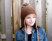 girls crochet hat  brown CLEARANCE save 50% use coupon code CLEAR50