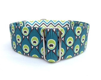 "Art Deco Peacock Dog Collar - 1"" or 1.5"" Peacock Martingale or Adjustable Buckle Dog Collar"
