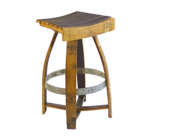 Wine Barrel Bar Stool with Memory Swivel (red, burgundy, natural oak, stainless steel)