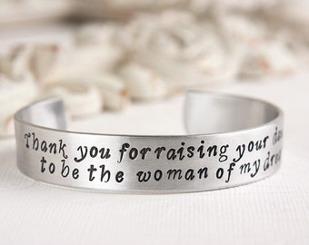 Mother of the Bride Bracelet - Gift for Mother of Bride - Groom to Mother in Law Gift - Thank You for Raising Your Daughter Bracelet
