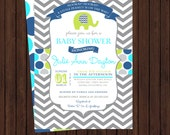Elephant boys baby shower invitations -- modern aqua, lime, navy baby boy shower with polka-dots and chevron printable digital files
