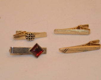 Vintage Tie Bar Tie Clip Selection - Four Clips - One Money
