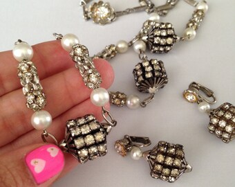 1950's Rhinestone Necklace and Earring Set