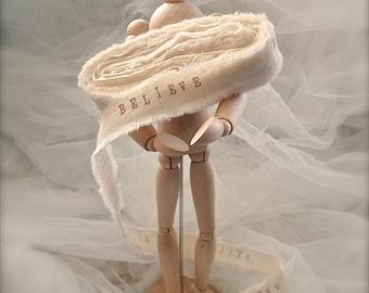 5 yards handstamped muslin ribbons, handstamped personalized ribbon, handstamped believe ribbon, wedding decor (Buy 2 get 1 free)
