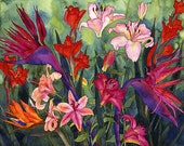 Tropical Flowers in Hawaii Watercolor Painting, Birds of Paradise and Lilies Fine Art Print