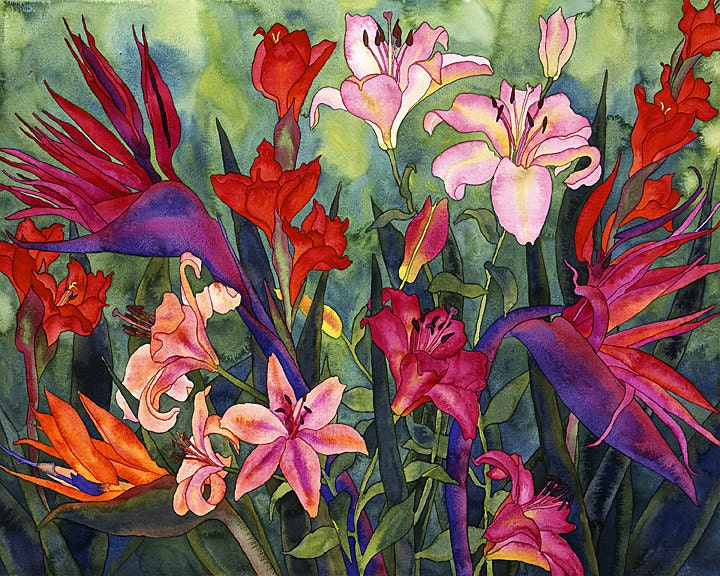 Tropical Flowers in Hawaii Watercolor Painting Birds of
